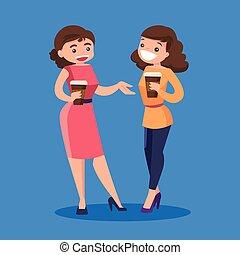Two caucasian white business women drinking coffee