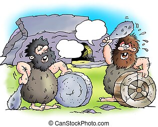 Two cave with with their wheels - Two cave dwellers with...