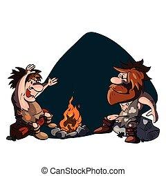 Two cavemen talking