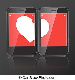 Two Cell Phones with one Heart on Screen. Vector Illustration.