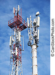 Two cellular base station tower