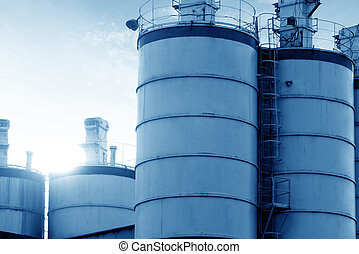 Two cement silos