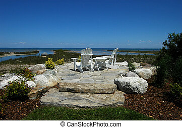 Two Chairs on Rocks - two Muskoka chair on Georgian Bay rock...