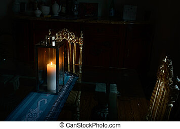 Two chairs table lamp with a candle - Two chairs table lamp ...