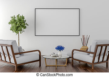 Two Chairs with blank picture frame on the wall