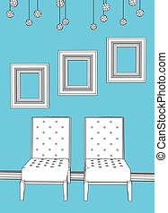 Two chairs with empty frames in blue minimalist interior