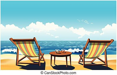 Two chaise lounges on the beach