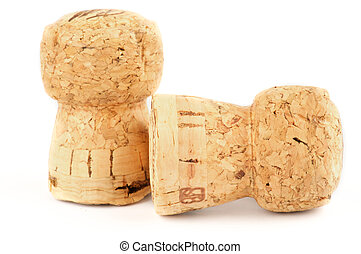 Two Champagne corks isolated on white background