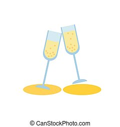 two champagne glass on white background flat