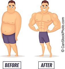 Two characters fat and muscular man. Visualization of loss...