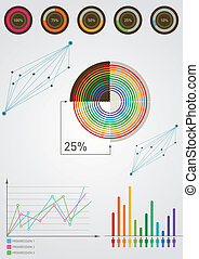 two charts with tables and circles