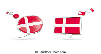 Two chat icons with flag of denmark. Round and square speech...