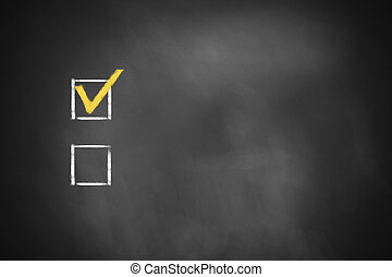 two checkboxes on black chalkboard