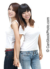Two cheerful Asian girls isolated on white background.