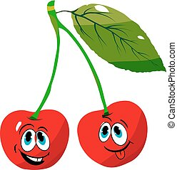 Two cheerful cherries on a branch, cartoon on a white background.
