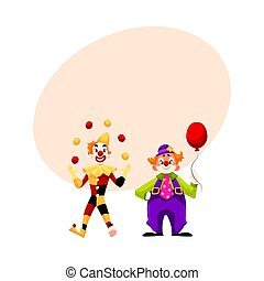 Two cheerful clown on a holiday