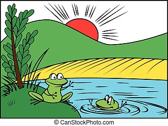Two cheerful frog