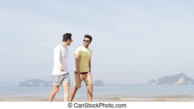 Two Cheerful Man Walking Along Beach Talking, Happy Gay...