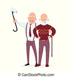 Two cheerful senior men friends standing together vector flat illustration. Aged people making selfie and having fun cartoon characters isolated on white background.