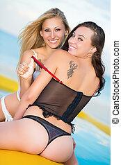 Two cheerful women