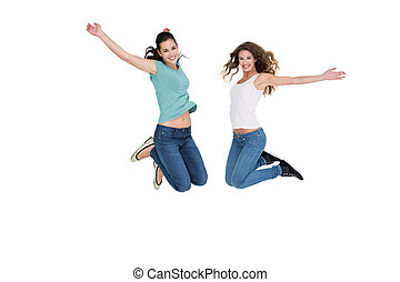 Two cheerful young female friends j