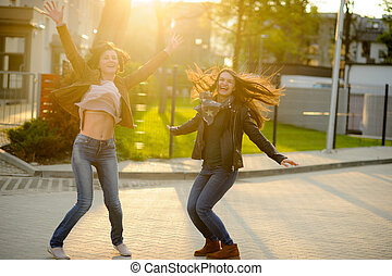 Two cheerful young women.