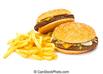 Two Cheeseburgers with fries