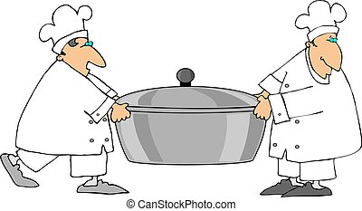 Two Chefs Carrying A - This illustration depicts two chefs...