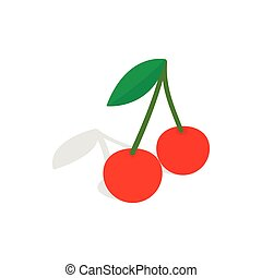 Two cherries with the leaf icon isometric 3d style