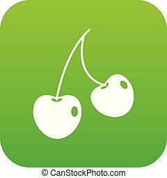 Two cherry berries icon digital green