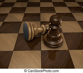 two chess pawn pieces on checkered chess board