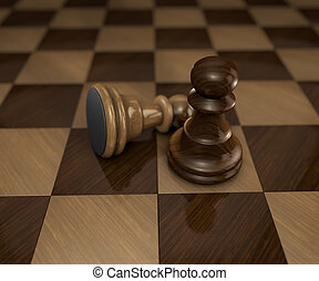 two chess pieces on checkered board
