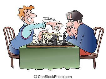 Two chess players - Vector illustration cartoon of two chess...