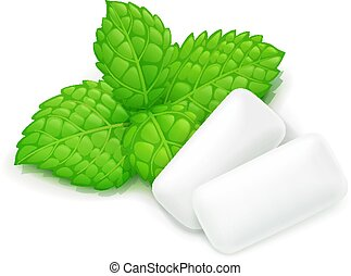 Two chewing gum and mint leaf.