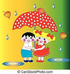 Two children a boy and a girl under an umbrella.