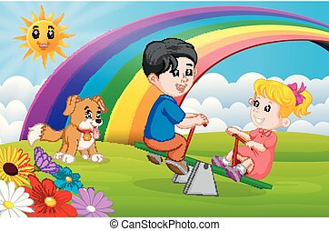 Two Children and dogs playing seesaw in the park on rainbow...