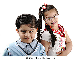 Two children, brother and sister, isolated on white, mixed race