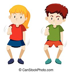 Two children dancing white background