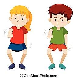 Two children dancing white background