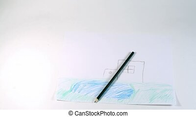 Two children drawings - family and house are drawn by color pencils