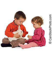 Two children feeding a bunny