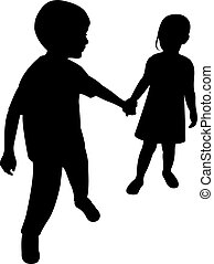 two children hand in hand