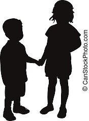 two children hand in hand, silhouet