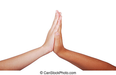Two children hands touching each other, isolated
