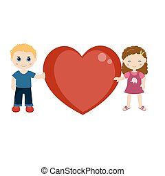 Two children holding a heart