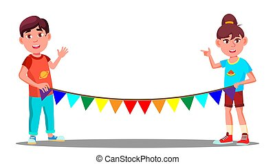 Two Children Holding A Rope With Colored Party Flags Vector. Illustration