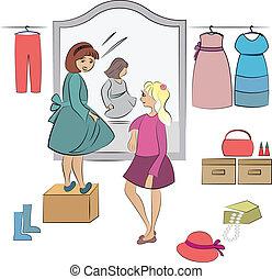 two children in wardrobe