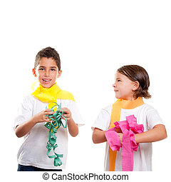 two children kids in party with colorful paper ribbon