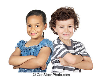 Two children of different races isolated over white