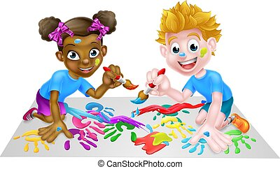 Two Children Painting - Cartoon boy and girl getting very...